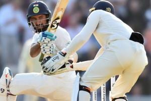 Cheteshwar Pujara in action on Day 2 of the fourth Test between India and England.