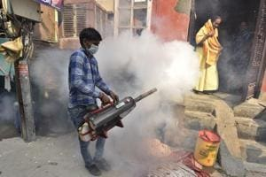 A fumigation drive to eliminate mosquitoes to reduce dengue threat.
