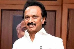 DMK president MK Stalin at Anna Arivalayam, party headquarters in Chennai, on August 26.
