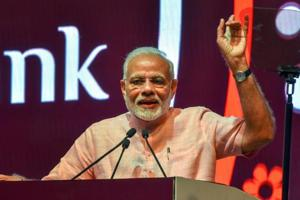 Prime Minister Narendra Modi addresses during the launch of India Post Payments Bank (IPPB), in New Delhi on Saturday, Sept 1, 2018.