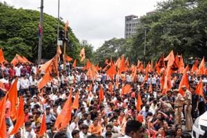 Maratha Protest outside collector office in Pune, India, on August 9, 2018.