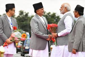 Prime Minister Narendra Modi arrives in Nepal to participate in the 4th BIMSTEC summit, Kathmandu, Aug 30, 2018