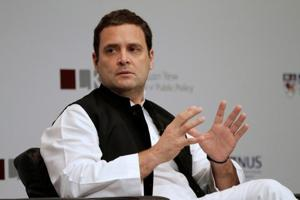 Rahul Gandhi speaks at an event In Singapore March 8, 2018.