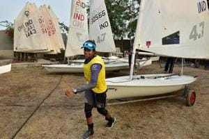 Harshita, 16, won the bronze medal in Open Laser Sailing Category Friday. She had totalled 62 after race 12 to finish third.  (Photo by Arijit Sen/Hindustan Times via Getty Images)