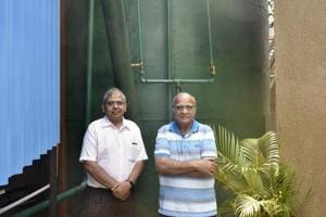 (Left) Nikhil Mehta, executive director of Club Emerald and Jashwant Mehta, the chairman of the club, near the biogas plant at Swastik Park, Chembur on Saturday.