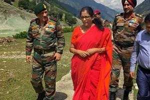 Union defence minister Nirmala Sitharaman visits Chinar Corps to review the security situation in Kashmir Valley, in Srinagar in June 2018.