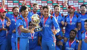 File image of Afghanistan Cricket Team celebrating their win over West Indies.