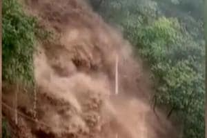 Tourists were resuced from Mussoorie's Kempty Falls after the water level rose following heavy rains on Sunday. (Video grab)