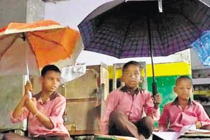 Students of the government school in Uttar Pradesh's Banki block say that the ceiling of their classroom leaks every time it rains.