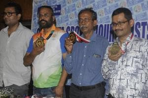 (L - R) Debabrata Majumder (Bronze), Shibnath De Sarkar & Pranab Bardhan (Pairs Gold) and Sumit Mukherjee (Bronze) - the Indian contingent of Bridge that picked up Gold and Bronze in the Jakarta Asian Games were present in a felicitation event at Calcutta Sports Journalist Club on Monday, September 03, 2018.
