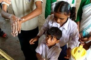 Unicef works with Sarva Siksha Abhiyan and Integrated Child Development Services, to promote hygiene water and sanitation services in schools, Anganwadi and health centers to promote hygiene practices.