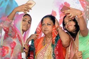 Women take selfie with Rajasthan Chief Minister Vasundhara Raje during