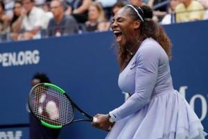 Sept 2, 2018; New York, NY, USA; Serena Williams of the USA reacts to winning a game in the third set against.Kaia Kanepi of Estonia (not pictured) in a fourth round match on day seven of the 2018 U.S. Open tennis tournament at USTA Billie Jean King National Tennis Center