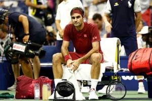 NEW YORK, NY - SEPTEMBER 03: Roger Federer of Switzerland following defeat during the men