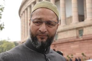 Asaduddin Owaisi during the budget session of Parliament in New Delhi on February 6.