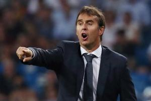 Real Madrid coach Julen Lopetegui gestures during the match.