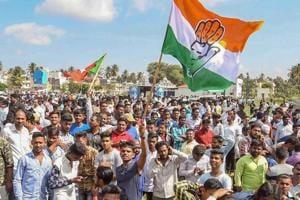 BCongress party workers celebrate their win in Karnataka Urban Local Body Election 2018, in Mysuru on Wednesday.