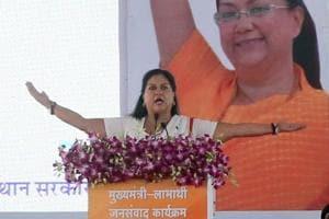 Rajasthan chief minister Vasundhara Raje speaks during the