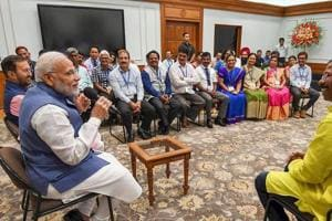 Prime Minister Narendra Modi interacts with the awardees of the National Teachers' Award, on the eve of Teachers' Day, in New Delhi on Tuesday.