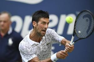 Novak Djokovic of Serbia plays a match against Joao Sousa of Portugal at the U.S. Open tennis tournament in New York, Sept. 3, 2018. Djokovic won 6-3, 6-4, 6-3.