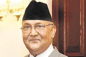 Nepal Prime MinisterKP Sharma Oli at Rashtrapati Bhavan in New Delhi.