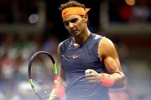 Rafael Nadal reacts during the USOpen men