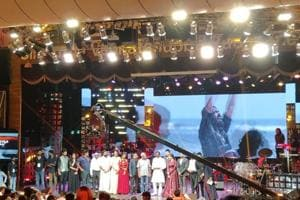 The cast and crew of Chekka Chivantha Vaanam at the audio launch of the movie.