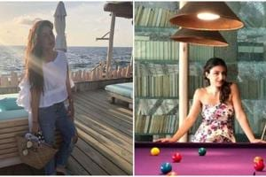 Kareena Kapoor poses in a frilly white top and Soha Ali Khan enjoys a game of snooker in Maldives.