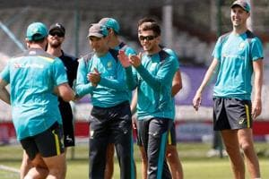 Australian cricket team captain Tim Paine and teammates during a net session.