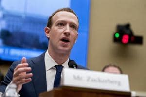 In this April 11, 2018 photo, Facebook CEO Mark Zuckerberg testifies before a House Energy and Commerce hearing on Capitol Hill in Washington about the use of Facebook data to target American voters in the 2016 election and data privacy.