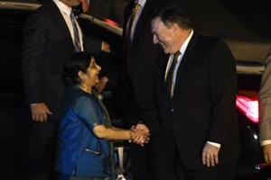 External affairs minister Sushma Swaraj shakes hands with US Secretary of State Mike Pompeo at Air Force Station Palam in New Delhi on September 5.