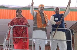 BJP president Amit Shah launched the yatra on August 4 from Chabhuja Temple in Rajsamand. The 40-day yatra, intended to cover 6,054 km in 165 constituencies, has so far traversed the Udaipur and Jodhpur divisions out of the state's seven divisions.