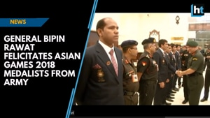 General Bipin Rawat felicitates Asian Games 2018 medalists from Army