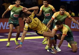 The Telugu Titans battle the Patna Pirates in a PKL match in Mumbai, in 2016. Industrialist Anand Mahindra is part owner of Mashal Sports, the company that came up with the idea of the Pro Kabaddi League. The sixth edition of the league starts on October 5.