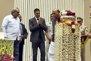 Actor Akshay Kumar and Minister of Home Affairs Rajnath Singh at the launch of the Bharat Ke Veer App in April, last year.