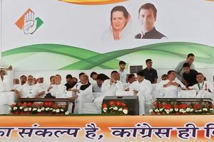 Congress national general secretary Ashok Gehlot and state president Sachin Pilot along with other leaders at the Vijay Sankalp rally in Pachpadra on Wednesday. (HT Photo)