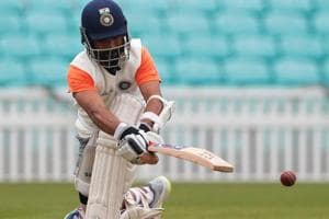 Ajinkya Rahane during nets at the Oval.