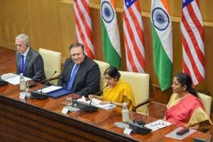 External Affairs Minister Sushma Swaraj, Defence Minister Nirmala Sitharaman, US Secretary of State Mike Pompeo and US Secretary of Defense James Mattis at the joint press conference after the India-US 2+2 Dialogue, in New Delhi on Thursday, Sept 6, 2018.