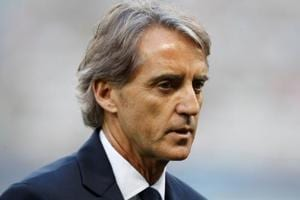 Italy coach Roberto Mancini before the match against France.
