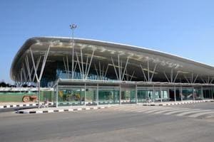 Terminal building of Kempegowda International Airport which is an international airport serving Bengaluru.