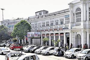A parking lot at Connaught Place in central Delhi.
