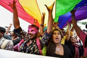 In this file photo dated November 26, 2017, members and supporters of the LGBT community are seen during Namma Pride Bengaluru Queer Habba rally, in Bengaluru. On September  6, a five-judge Constitution bench of the Supreme Court , unanimously decriminalised part of the 158-year-old colonial law under Section 377 of the IPC which criminalises consensual unnatural sex