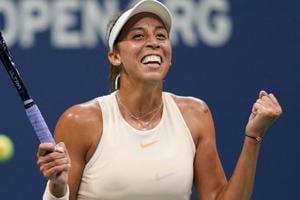 Madison Keys celebrates match point against Carla Suarez Navarro in her USOpen quarterfinal match.