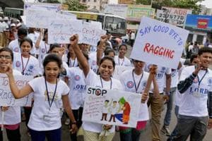 Students participate in an anti-ragging rally.
