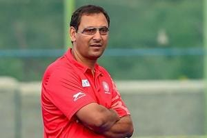Indian Hockey team coach Harendra Singh during a practice session ahead of Asian Games 2018.