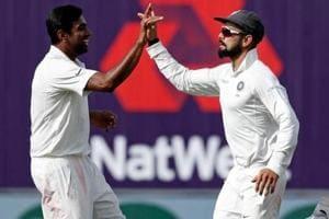 File image of R Ashwin (L) celebrating the fall of a wicket with India skipper Virat Kohli.
