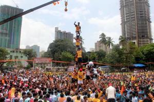Govindas form a human pyramid as part of dahi handi celebrations in Mumbai on September 3.