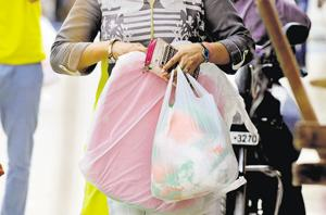Plastic bags are a major cause of pollution. (Sunil Ghosh /HT Photo)