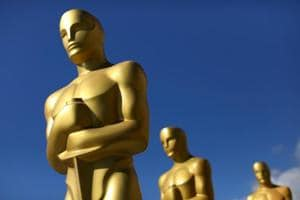 Oscar statues dry in the sunlight after receiving a fresh coat of gold paint as preparations begin for the 89th Academy Awards in Hollywood.