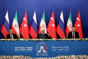 Turkish President Tayyip Erdogan speaks during a news conference with President Hassan Rouhani of Iran and Vladimir Putin of Russia following their meeting in Tehran, Iran September 7, 2018.